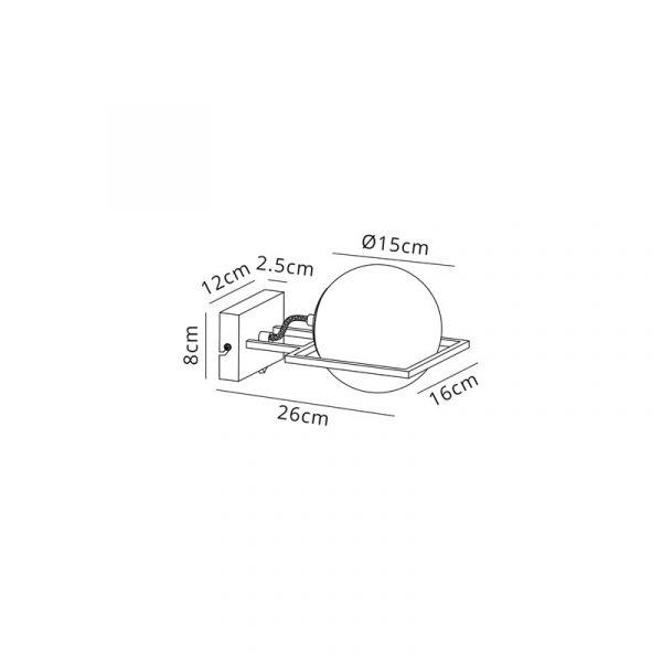 Lichfield Lighting Hartslade Wall Lamp Switched, 1 Light E14, Matt Black/Polished Gold Dimensions