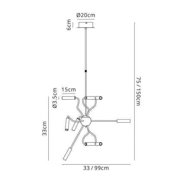 Lichfield Lighting Partridge Sputnik Pendant, 9 Light Adjustable Arms, 9 x 4W LED Dimmable, 3000K, 2250lm, Black/Aluminium, 3yrs Warranty Dimensions