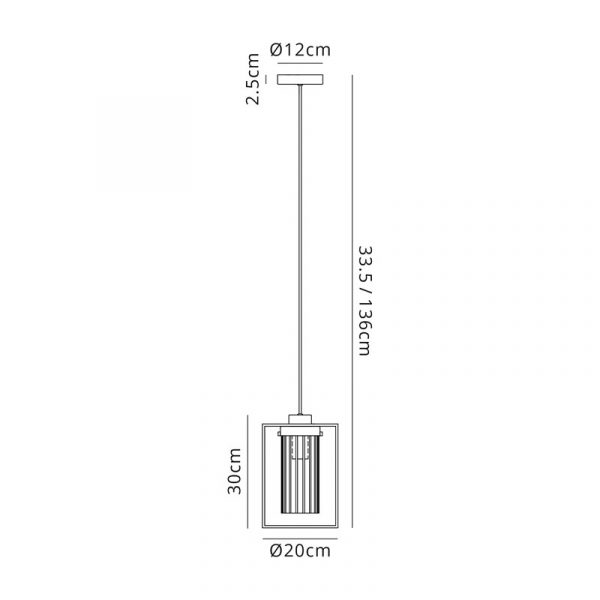 Lichfield Lighting Rocklands Single Pendant, 1 Light E27, Black/Clear Glass Dimensions