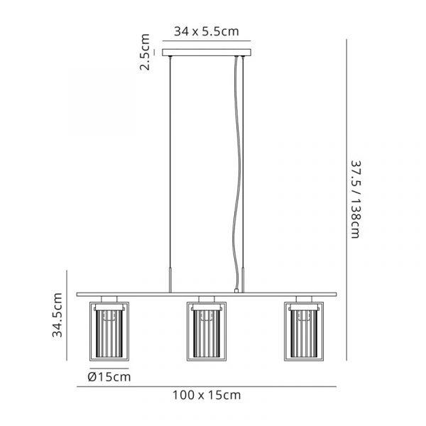 Lichfield Lighting Rocklands Linear Pendant, 3 Light E27, Black/Clear Glass Dimensions