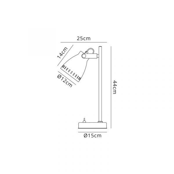 Lichfield Lighting Benson Adjustable Table Lamp, 1 x E27, Matt Black/Antique Brass/Khaki Dimensions