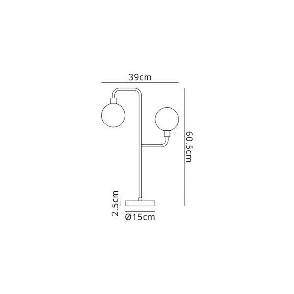 Lichfield Lighting Davidson Table Lamp, 2 Light G9, Matt Black/Antique Brass/Cognac Glass Dimensions