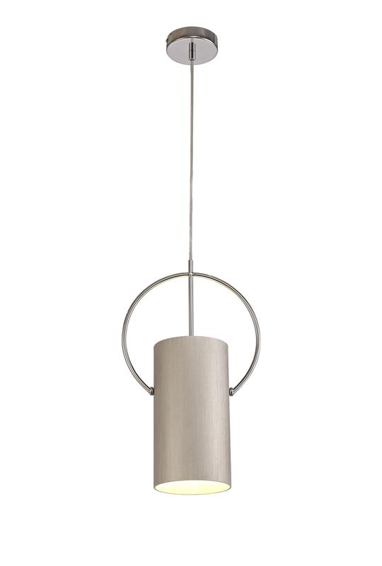 Lichfield Lighting Agincourt Single Pendant, 1 x E27, Satin Nickel/Polished Chrome photo 1