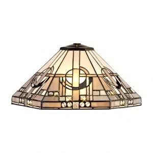Lichfield Lighting April, Tiffany 40cm Shade Only Suitable For Pendant/Ceiling/Table Lamp, White/Grey/Black/Clear Crystal photo 1