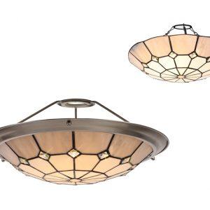 Lichfield Lighting Auchinleck, Tiffany 35cm Non-electric Uplighter Shade, Credlock/Grey/Crystal Centre/Satin Nickel Brass Trim photo 1