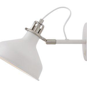 Lichfield Lighting Barn Adjustable Wall Lamp Switched, 1 x E27, Sand White/Satin Nickel/White photo 1