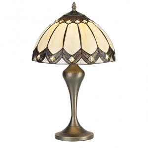 Lichfield Lighting Blackthorne Tiffany Table Lamp, 1 x E27, Aged Antique Brass Base/Credlock/Brown Glass/Clear Crystal photo 1