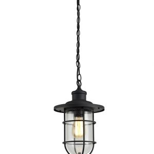 Lichfield Lighting Bloomfield Pendant, 1 x E27, Black/Gold With Seeded Clear Glass, IP54, 2yrs Warranty photo 1