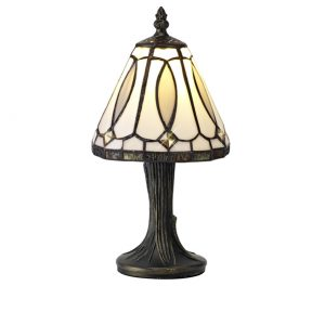 Lichfield Lighting Cappers Tiffany Table Lamp, 1 x E14, White/Grey/Clear Crystal Shade photo 1