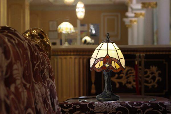 Lichfield Lighting Cedar Tiffany Table Lamp, 1 x E14, Credlock/Amber/Clear Crystal Shade photo 2
