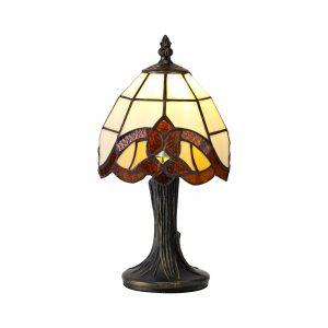Lichfield Lighting Cedar Tiffany Table Lamp, 1 x E14, Credlock/Amber/Clear Crystal Shade photo 1