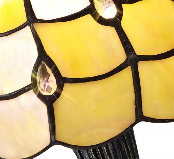 Lichfield Lighting Chatterton Tiffany Table Lamp, 1 x E14, Black/Gold, Beige/Clear Crystal Shade photo 2