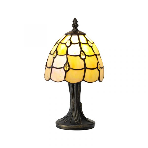 Lichfield Lighting Chatterton Tiffany Table Lamp, 1 x E14, Black/Gold, Beige/Clear Crystal Shade photo 1