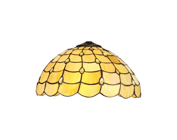 Lichfield Lighting Chatterton, Tiffany 40cm Shade Only Suitable For Pendant/Ceiling/Table Lamp, Beige/Clear Crystal photo 1