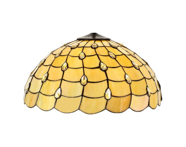 Lichfield Lighting Chatterton, Tiffany 50cm Non-electric Shade Suitable For Pendant/Ceiling/Table Lamp, Beige/Clear Crystal photo 1