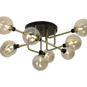 Lichfield Lighting Davidson Flush Ceiling, 9 Light G9, Matt Black/Antique Brass/Cognac Glass photo 1