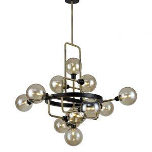Lichfield Lighting Davidson Fixed Pendant, 12 Light G9, Matt Black/Antique Brass/Cognac Glass photo 1