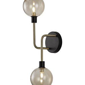 Lichfield Lighting Davidson Wall Lamp, 2 Light G9, Matt Black/Antique Brass/Cognac Glass photo 1