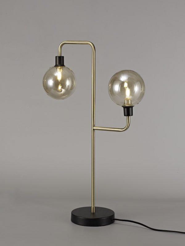 Lichfield Lighting Davidson Table Lamp, 2 Light G9, Matt Black/Antique Brass/Cognac Glass photo 3