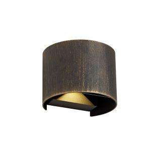 Lichfield Lighting Ferndale Up & Downward Lighting Wall Lamp, 2 x 3W LED, 3000K, 410lm, IP54, Black/Gold, 3yrs Warranty photo 1