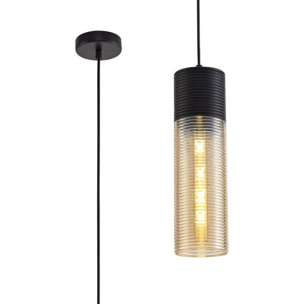 Lichfield Lighting Harrington Single Tube Pendant 1 Light E27, Black/Amber Glass photo 1