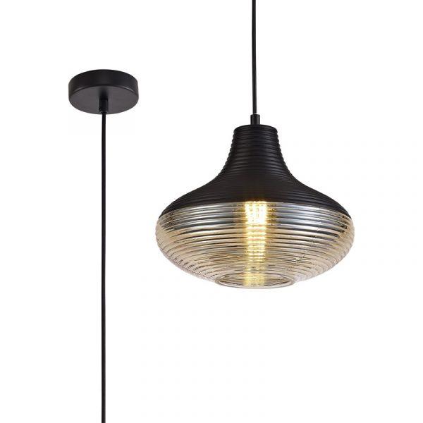 Lichfield Lighting Harrington Single Vase Pendant 1 Light E27, Black/Amber Glass photo 1