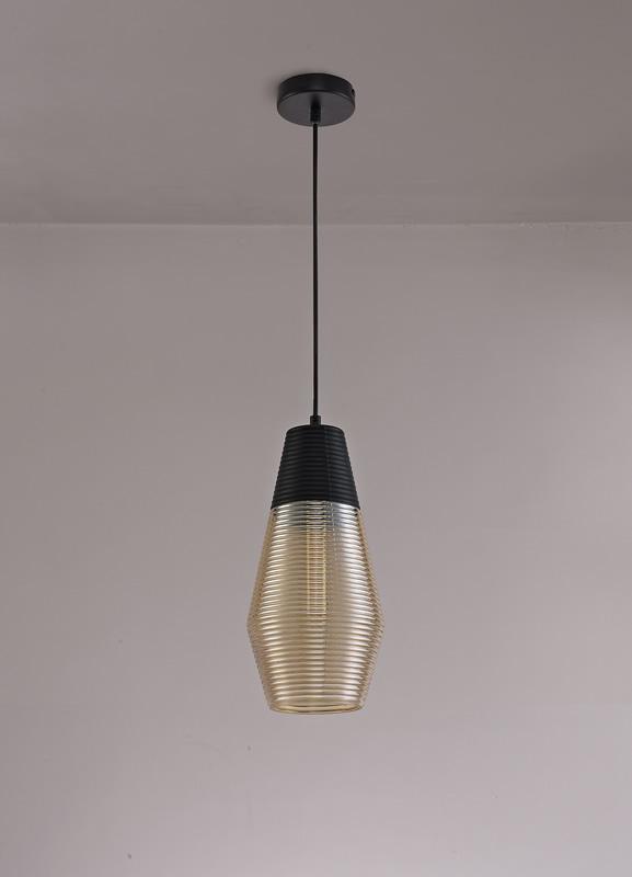 Lichfield Lighting Harrington Single Cone Pendant 1 Light E27, Black/Amber Glass photo 3