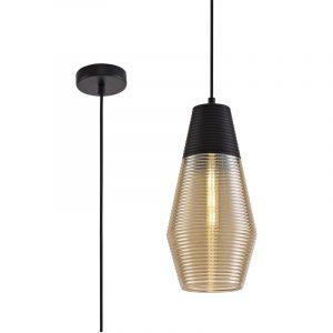 Lichfield Lighting Harrington Single Cone Pendant 1 Light E27, Black/Amber Glass photo 1