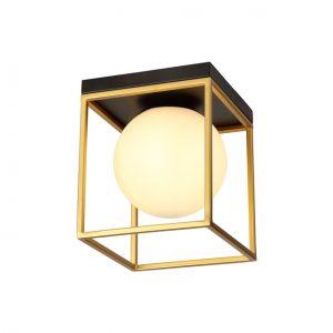 Lichfield Lighting Hartslade Square Ceiling Flush, 1 Light E14, Matt Black/Painted Gold photo 1