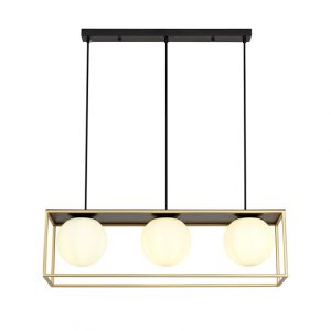 Lichfield Lighting Hartslade Linear Pendant, 3 Light Adjustable E14, Matt Black/Painted Gold photo 1