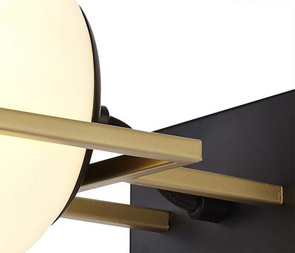 Lichfield Lighting Hartslade Wall Lamp Switched, 1 Light E14, Matt Black/Polished Gold photo 2