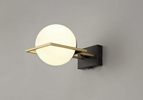 Lichfield Lighting Hartslade Wall Lamp Switched, 1 Light E14, Matt Black/Polished Gold photo 3