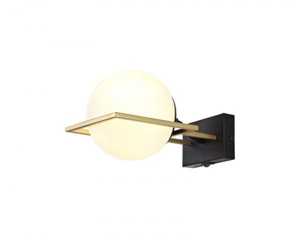 Lichfield Lighting Hartslade Wall Lamp Switched, 1 Light E14, Matt Black/Polished Gold photo 1