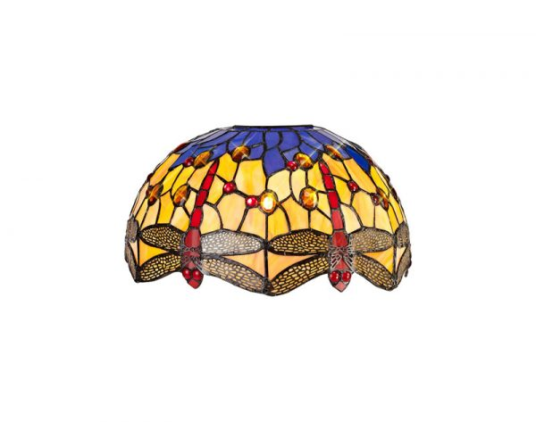 Lichfield Lighting Havefield Tiffany 30cm Non-electric Shade Suitable For Pendant/Ceiling/Table Lamp, Blue/Orange/Crystal photo 1