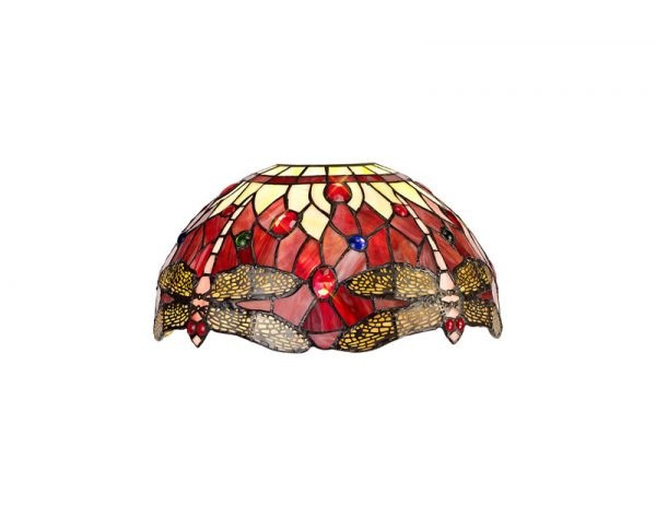 Lichfield Lighting Havefield Tiffany 30cm Non-electric Shade Suitable For Pendant/Ceiling/Table Lamp, Purple/Pink/Crystal photo 1