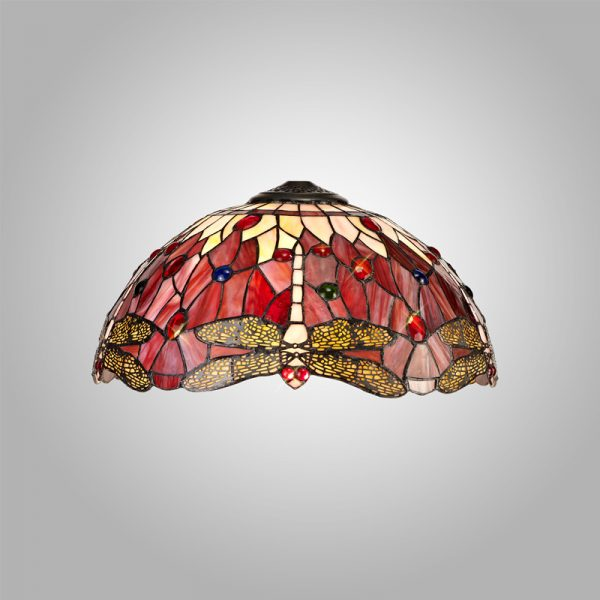 Lichfield Lighting Havefield Tiffany 40cm Shade Only Suitable For Pendant/Ceiling/Table Lamp, Purple/Pink/Crystal photo 4