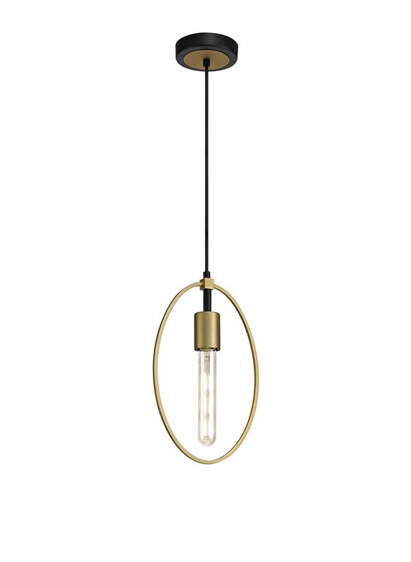 Lichfield Lighting Hawksmoor Single Small Circle Pendant, 1 Light E27, Sand Gold/Matt Black photo 1