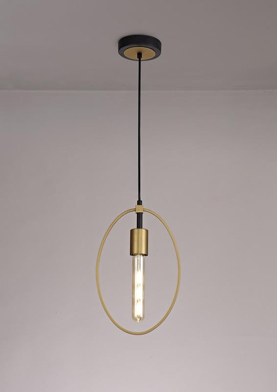 Lichfield Lighting Hawksmoor Single Small Circle Pendant, 1 Light E27, Sand Gold/Matt Black photo 3