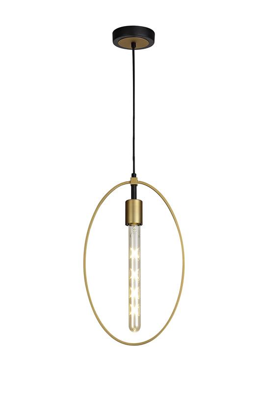 Lichfield Lighting Hawksmoor Single Large Circle Pendant, 1 Light E27, Sand Gold/Matt Black photo 1