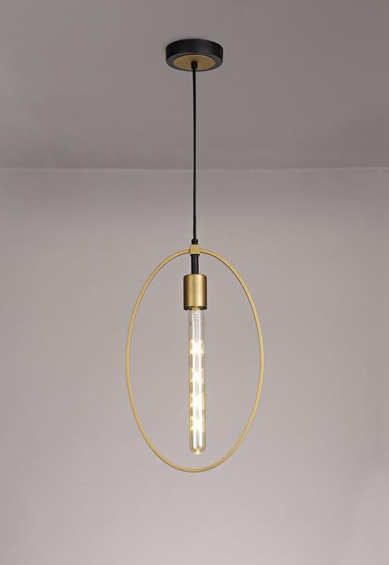 Lichfield Lighting Hawksmoor Single Large Circle Pendant, 1 Light E27, Sand Gold/Matt Black photo 3