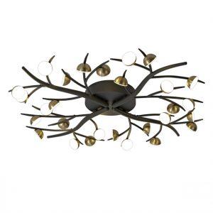 Lichfield Lighting Kardean 28 Light Semi-Flush, 28 x 3W LED, 3000K, 4400lm, Black/Antique Brass, 3yrs Warranty photo 1