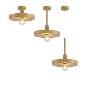 Lichfield Lighting Lanthorn Single Pendant, 1 Light Adjustable E27, Wood Effect photo 1