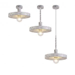Lichfield Lighting Lanthorn Single Pendant, 1 Light Adjustable E27, Marble Effect photo 1