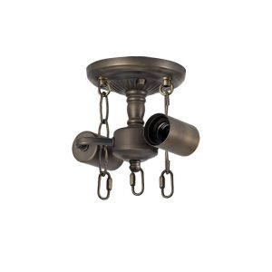 Lichfield Lighting Market Semi Ceiling Kit, 2 x E27, Aged Antique Brass photo 1