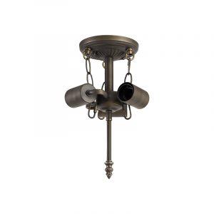 Lichfield Lighting Market Semi Ceiling Kit, 3 x E27, Aged Antique Brass photo 1