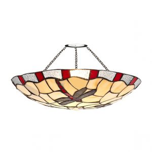 Lichfield Lighting Oakenfield 35cm Tiffany Non-electric Uplighter Shade, Red/Credlock/Clear Crystal photo 1