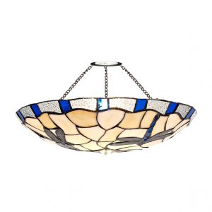 Lichfield Lighting Oakenfield 35cm Tiffany Non-electric Uplighter Shade, Rich Blue/Credlock/Clear Crystal photo 1