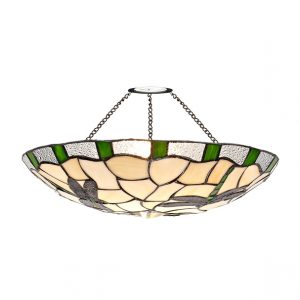 Lichfield Lighting Oakenfield 35cm Tiffany Non-electric Uplighter Shade, Green/Credlock/Clear Crystal photo 1