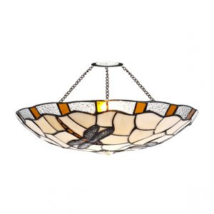 Lichfield Lighting Oakenfield 35cm Tiffany Non-electric Uplighter Shade, Amber/Credlock/Clear Crystal photo 1