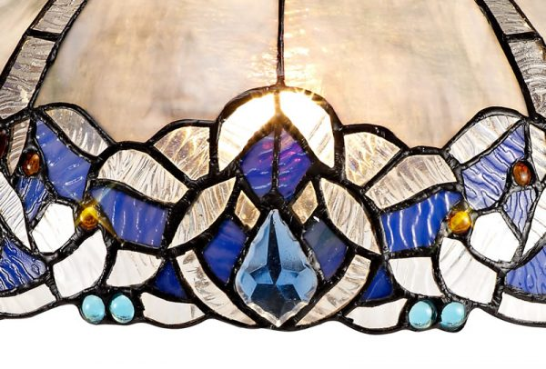 Lichfield Lighting Oricle, Tiffany 30cm Non-electric Shade Suitable For Pendant/Ceiling/Table Lamp, Blue/Clear Crystal photo 3